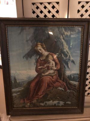18x22 Antique vintage dated 1925 Mother and child framed picture. 28.00. 212 North Main Street. Buda. 😀Johanna. Art collectibles furniture for Sale in Austin, TX