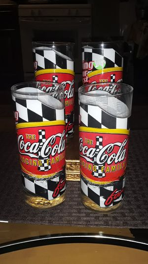 SALE 1960S COCA COLA NASCAR GLASSES SET OF 4 ORIGINAL CONDITION COLLECTABLE for Sale in undefined