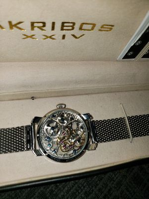 BRAND NEW AKRIBOS OPEN FACE SILVER WATCH for Sale in Pickerington, OH