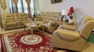 Marlo Leather Bonded Sofa &Loveseat $ Living Room Set Reclining Sofa with Adjustable Headrest for Sale in Rockville, MD