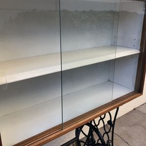 Mid Century Style Wood Storage Shelf with Sliding Glass Door for Sale in Long Beach, CA