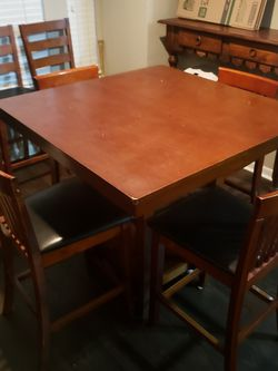 High top Square dining room table with 3 additional chairs included for Sale in Houston,  TX
