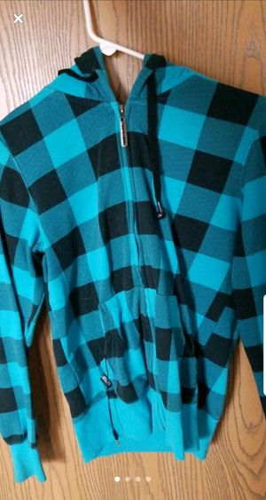 Blue plaid hoodie. Size M in Women's for Sale in Columbus, OH