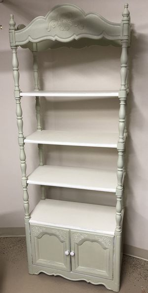 Solid wood white green etagere display bookcase for Sale in Newton, MA