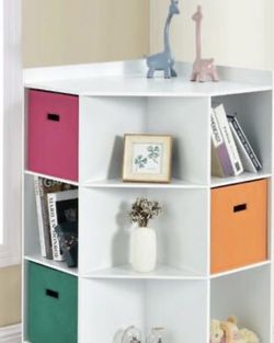 3-Tier Kids Storage Shelf Cubes w/3 Baskets Corner Cabinet Organizer White Hw65889wh for Sale in Los Angeles,  CA