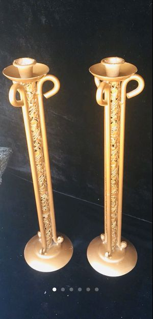 Metal candle holders, H18 x W5 inch (base) x W3 inch (top) for Sale in Chandler, AZ