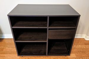 Espresso Brown Laminate Cabinet Shelf Stand with Pull-out Drawer for Sale in Plano, TX