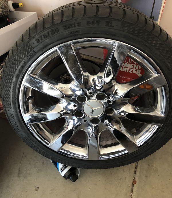 Set of four Chrome Mercedes Benz S550 Rims on run flat tires Fits 2007-2013