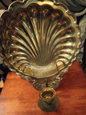 Rare brass shell wall decor candle holder for Sale in College Park, MD