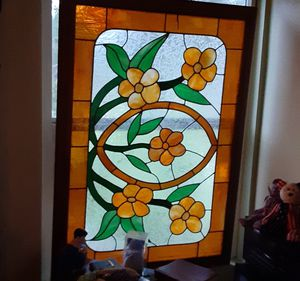 Antique Victorianox Stained Glass,.FREE red wood frame,,, Like new- no missing panels-barley any fine scratchs luminates a bright glow for Sale in Irvine, CA