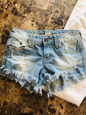 Blue Asphalt fray fringe blue jean shorts 0 for Sale in Houston, TX