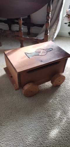 """18""""×11"""" 10"""" tall Hand made wood storage or toy. Needs fixing up a bit. Nice paint job would be awesome. Put a little rope on the end for a child to p for Sale in Hampstead, NC"""
