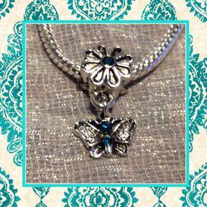 Teal butterfly flower dangle charm Bead for Sale in Las Vegas, NV