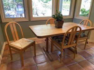 Solid butcher block table and six chairs for Sale in Fresno, CA