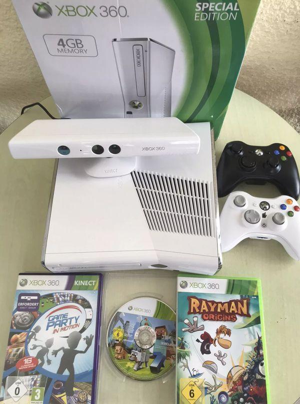 Microsoft Xbox 360 Console Slim 250 GB + Kinect +3 Games with Original Box