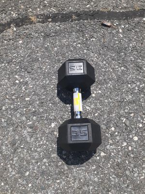 35lb Hex Rubber Dumbbell for Sale in Newton, MA