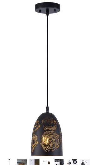 Smellbt Mini Pierced Pendant Light in Painting Finish with Black Metal Lampshade, Adjustable Edsion Hollow Pendant Light for Living Room Kitchen Isla for Sale in Ontario, CA