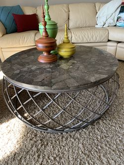Beautiful Unique Chestnut Top Coffee Table and Side Table for Sale in Moline,  IL