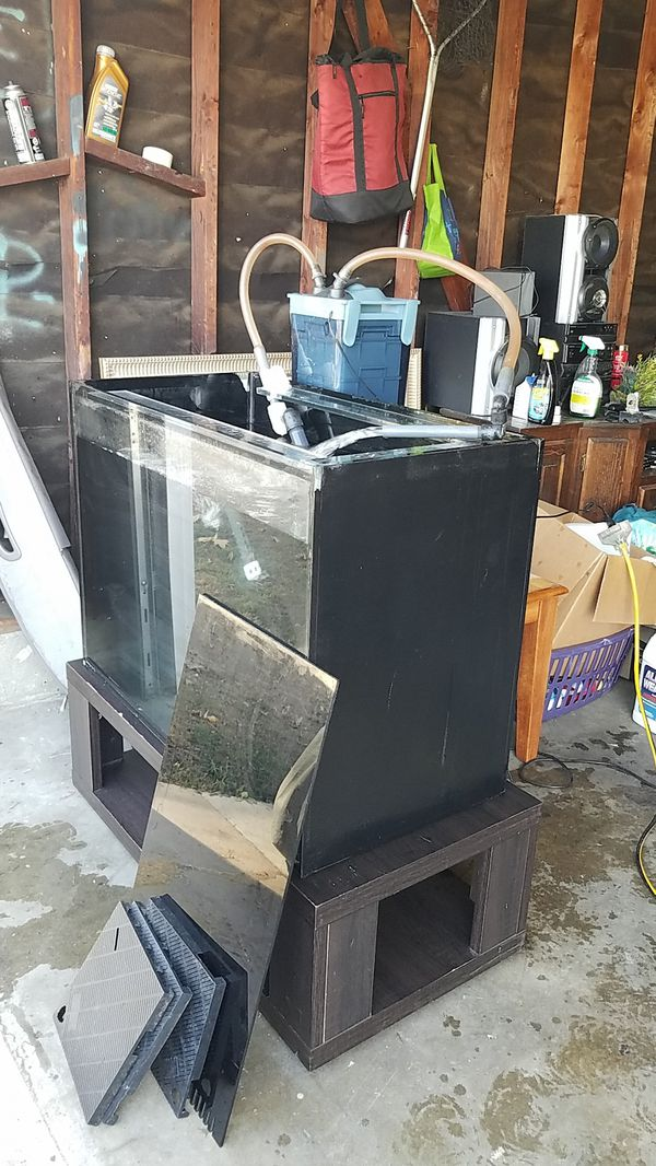 65 Gallons Rimless with sump fish tank come with stand, build a heavy duty 3/4 Glass come with refugium kits and aquarium API canistper filter,