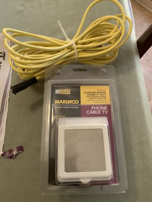 Marinco marine cable tv /phone inlet deck fitting for boat w/25ft marine (yellow) coaxial cable for Sale in St. Petersburg, FL