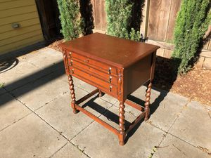 19th century English Antique three drawer side table, with functioning lock for Sale in Portland, OR
