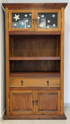 Mexican painted wood cabinet with bookshelf, drawers and doors for Sale in Bethesda, MD