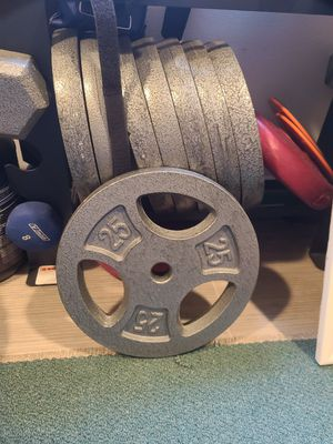 Standard weights, curl bar, 6ft standard barbell for Sale in Portland, OR