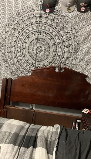 Queen Bed frame with railing for Sale in Wenatchee, WA