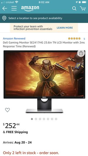 Dell Gaming monitor 23.6in and Logitech gaming keyboard for Sale in Modesto, CA