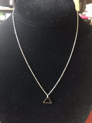 """18"""" silver plated necklace with triangle charm for Sale in Jersey City, NJ"""