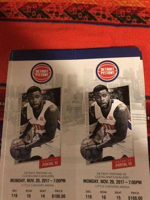 Pistons vs Cleveland Cavaliers 11/20 for Sale in Detroit, MI