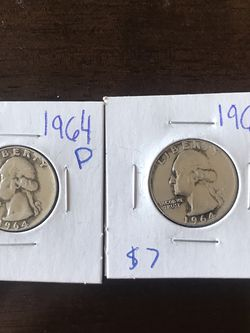 (2) 1964 P Silver Quarters 90% Junk Silver for Sale in Rowlett,  TX