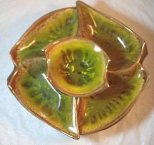 Mid Century California Pottery Snack Serving Set Lazy Susan 385 Green Gold Brown for Sale in NC, US