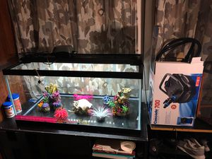 45 gallon fish tank with filter, decorations, oxygen pump, rocks, and light for Sale in San Gabriel, CA