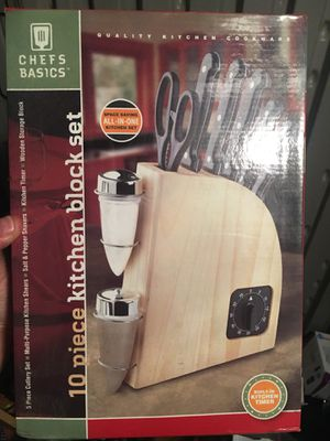 10 piece kitchen knife block set with timer for Sale in Los Angeles, CA