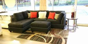 $50 down financing! BRAND NEW BLACK SECTIONAL WITH OTTOMAN for Sale in Oviedo, FL
