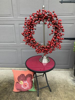 Red side table and wreath for Sale in Portland, OR