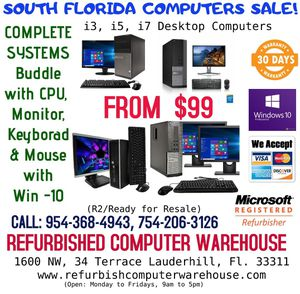 South Florida Computer SALE! intel i3 & i5 Desktops Computer for SALE! for Sale in Fort Lauderdale, FL