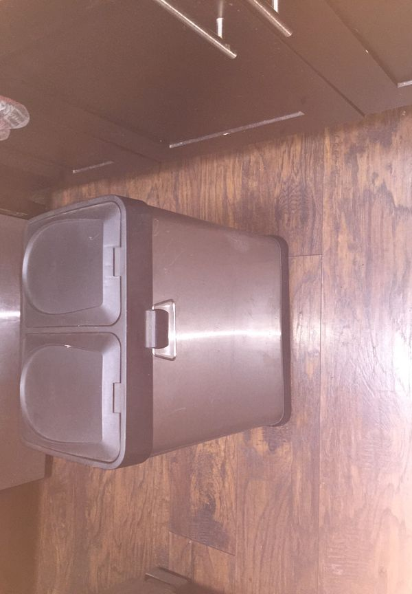 Trash can, stainless steel dual recycling bin