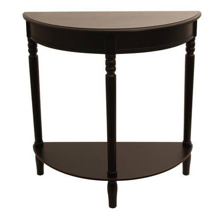 Home Craft Half Moon Wooden Entry Way Console / End Table in Brown