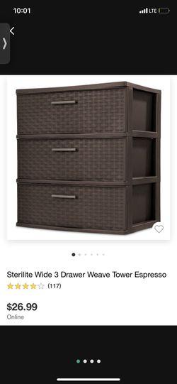 Sterlite Wide 3 Drawer Weave Tower for Sale in Santa Ana,  CA