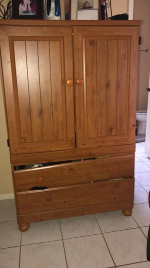 Wooden shelfs with big cabinet for Sale in Houston, TX