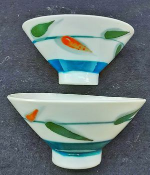 Mid century modern old japanese porcelain rice bowls for Sale in Saginaw, MI