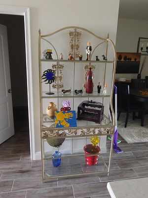 Metal Bakers Rack Glass Shevles for Sale in Riverview, FL