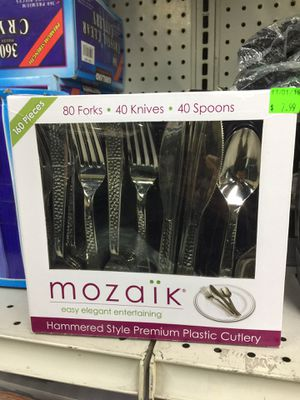 Mozaik 80 Forks, 40 Knives and 40 Spoons (Plastic) for Sale in Rosemead, CA