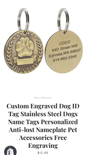 Customizable dog tags! for Sale in Richmond, VA