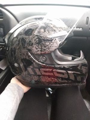 Grey/Black Skull Icon helmet w/face shield for Sale in Evansville, IN