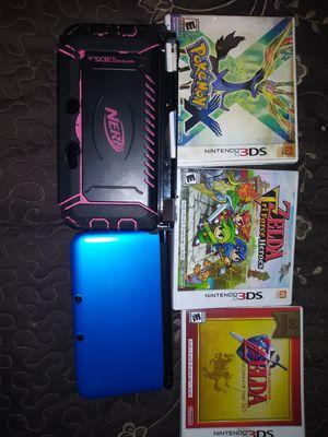 Nintendo 3DS XL Blue/Black Handheld System mario + pokemon + Zelda games for Sale in Turlock, CA