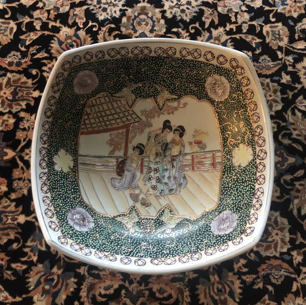Large Vintage Chinese footed bowl vase
