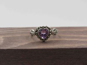 Size 7 Sterling Silver Rustic Heart Amethyst Band Ring Vintage Statement Engagement Wedding Promise Anniversary Bridal Cocktail Friendship for Sale in Everett, WA